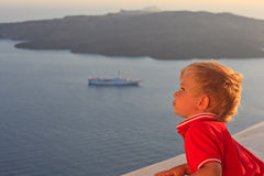 Little boy on vacation in Greece Stock Photos