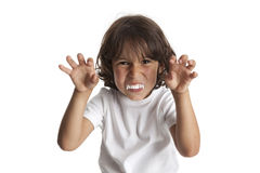 Little boy with vampires teeth Stock Photography