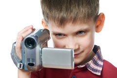 Little boy with video camera isolated Royalty Free Stock Photography