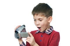 Little boy with video camera isolated Stock Image