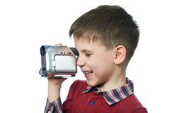 Little boy with video camera isolated Stock Photos