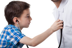 Little boy on visit with doctor Stock Photos