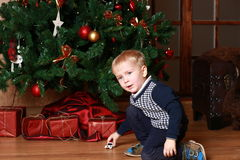 Little boy waiting for Christmas Royalty Free Stock Photos