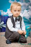 Little boy waiting for Christmas Stock Photography