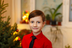Little boy waiting for christmas Royalty Free Stock Image