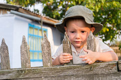 Little boy waiting for Dad to come Stock Photography