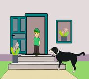 Little Boy and waiting Dog Royalty Free Stock Images
