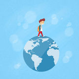 Little Boy Walk on Globe World Map Concept Travel Royalty Free Stock Photography