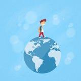 Little Boy Walk on Globe World Map Concept Travel Royalty Free Stock Photography