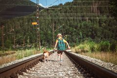Little boy walking with big backpack and his beagle dog run on railway royalty free stock photography