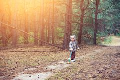 Little boy walking in the forest. Little boy walking in the deep forest Royalty Free Stock Photography