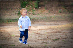 Little boy walking.  Freedom concept. Stock Images