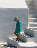 Little boy walking in Santorini Royalty Free Stock Photography