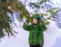 Little boy walking in snowy winter forest Stock Image