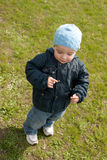 Little boy walking on the spring meadow Royalty Free Stock Images