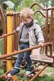 Little boy walking on stairs royalty free stock photos