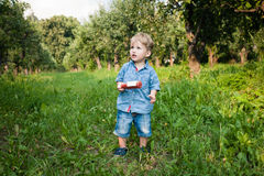 Little boy walks alone in a meadow and drinks juice Royalty Free Stock Photos
