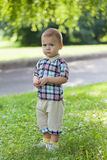Little boy walks Stock Images