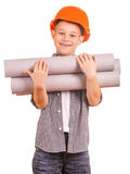 Little boy with wallpaper and paint roller Royalty Free Stock Photography
