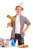 Little boy with wallpaper and paint roller Royalty Free Stock Image