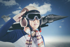 Little boy want to be a pilot Royalty Free Stock Image
