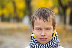 Little boy wants begin to cry Royalty Free Stock Photo