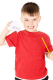 The little boy was angry and crumple the sheet of paper Royalty Free Stock Image