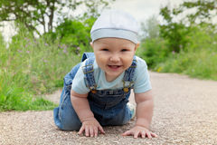 The little boy was crawling on the way Royalty Free Stock Images
