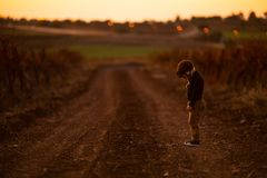 Little boy was lost and there was one near road in the autumn royalty free stock image