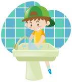 Little boy washing hands. Illustration Stock Images