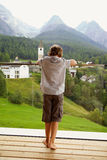 Little boy watching beauty of mountains Royalty Free Stock Photos