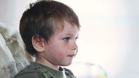 Little boy watching TV and eating apples, stock footage Royalty Free Stock Image