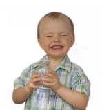 Little boy with a water bottle Royalty Free Stock Image