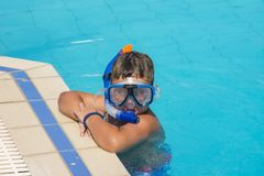 The little boy in the water with diving equipment Royalty Free Stock Photo