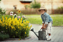 Little boy watering flowers royalty free stock images