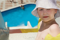 The little boy and waterslide Stock Photos