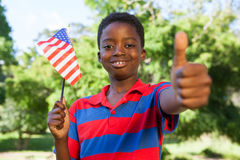 Little boy waving american flag Stock Photography