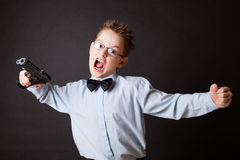 A little boy with a weapon Stock Photos