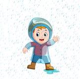 Little boy wearing blue raincoat and heavy rain vector illustration