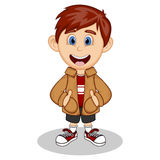 Little boy wearing a brown jacket and black shorts smiling cartoon Royalty Free Stock Image