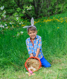 Little boy wearing bunny ears. Cute little boy wearing bunny ears playing with Easter eggs in blossoming apple garden on spring day Royalty Free Stock Image