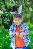 Little boy wearing bunny ears Stock Images