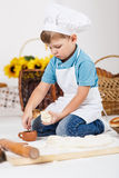 Little boy wearing chef hats baking a pie Royalty Free Stock Image