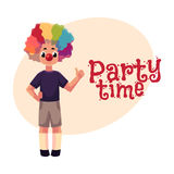 Little boy wearing clown nose and wig showing thumb up. Little boy wearing clown nose and rainbow colored wig showing thumb up, ,cartoon style invitation, banner Stock Illustration
