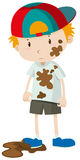 Little boy wearing dirty clothes. Illustration Stock Images