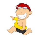 Little boy wearing duck swimming floats were running cartoon Stock Photo