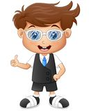 Little boy wearing glasses giving thumbs up. Illustration of Little boy wearing glasses giving thumbs up Stock Image
