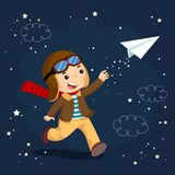 Little boy wearing helmet and dreams of becoming an aviator while flying a paper plane. Vector illustration of little boy wearing helmet and dreams of becoming vector illustration