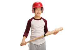 Little boy wearing a helmet and holding a baseball bat Royalty Free Stock Photography
