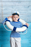 Little boy wearing a life preserver Royalty Free Stock Image